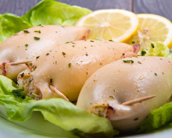 Delicious homemade stuffed squid